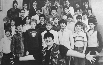At Princeton High, John Popper found ingenious ways to stand out in the crowd. Above: a photo of the men's choir that appeared in the 1986 yearbook.