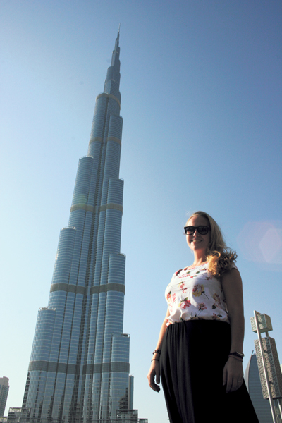 McClellan stands next to Dubai's Burj Khalifa, which is the tallest building in the world.