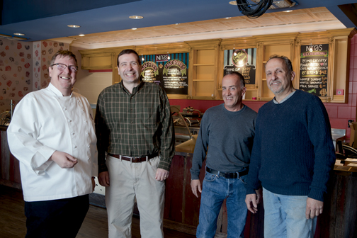 Chef Shawn Lawson, general manager Mark Delpo and franchise owners Michael Fanourgakis and Tom Pappas at the new location of Nina's Waffles and Ice Cream, 252 Nassau St., expected to open this month. Photo by Suzette J. Lucas.