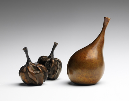 Pears cast in bronze by Laura Baring-Gould.