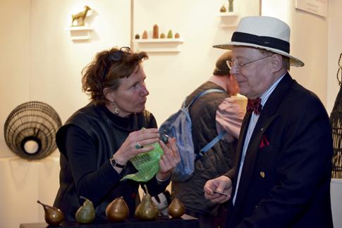 Artist Laura Baring-Gould talking to Sheldon Eldridge of Princeton at Morven in May 2015. Photo by Charles R. Plohn.
