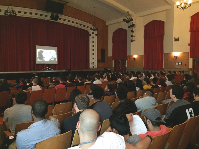 Members of Hamilton High West's Class of 2016 watch a film during a fire safety presentation at the school June 3, 2016.