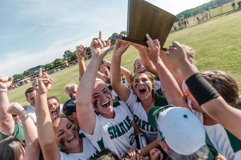 The Steinert High softball team celebrates its Central New Jersey Group III championship after a 5-0 win against Wall June 2, 2016 at Steinert. (Photo by Suzette J. Lucas.)