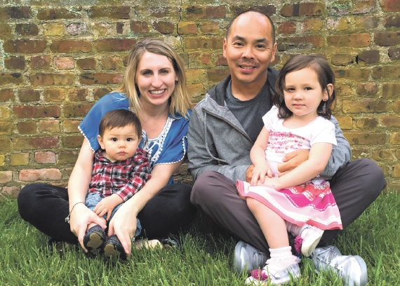 West Windsor-Plainsboro High School graduate Ed Tseng is coaching Mexican Olympian Yvonne Treviño Hayek. Pictured are wife, Sarah, Tseng, daughter, Ava, and son, Max.